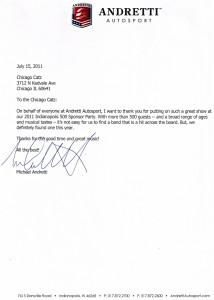 Andretti Letter